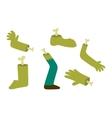 Zombie halloween cartoon foots and hands vector image vector image