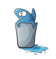 cute funny shark cartoon on water vector image