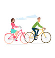 Man and woman boy and girl riding sport bikes vector image