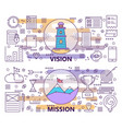 set of modern thin line vision and mission vector image