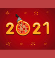 2021 happy new year celebration with pizza pan vector image vector image