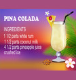 a glass pina colada cocktail with ingredients vector image vector image