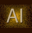 artificial intelligence over binary background vector image vector image