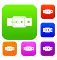 black buckle belt set color collection vector image vector image