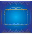 blue background with golden frame vector image vector image