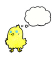 cartoon bird with thought bubble vector image vector image