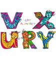 cat alphabet r u v x y vector image vector image