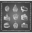 Chalk desserts and bakery products set vector image