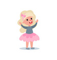 cheerful little girl with long blond hair in puffy vector image vector image