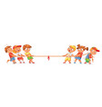 children pull the rope kids playing tug of war vector image vector image