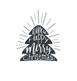 Christmas lettering with fire tree isolated on vector image vector image