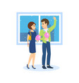 couple walks on background to streets of city vector image vector image