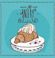 croissant with whipped cream on lacy napkin vector image