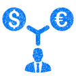 currency manager grunge icon vector image vector image