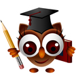 cute owl with pencil and book vector image vector image