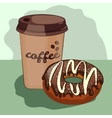 delicious donut cartoon cup of coffee vector image vector image