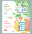 digital and mobile marketing pages modern devices vector image