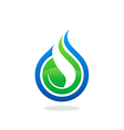 ecology water drop leaf logo vector image