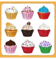 Fancy Sketchy Cupcakes collection vector image vector image