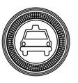 figure emblem taxi front car icon vector image vector image