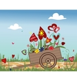 Handcart with blossoming hearts on sky background vector image vector image