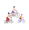 happy family riding bicycles mom dad and child vector image vector image