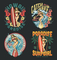hawaii surfing colorful vintage emblems vector image