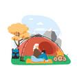 hiking scene flat traveler vector image vector image