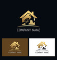 home repair gold company logo vector image