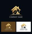 home repair gold company logo vector image vector image