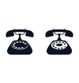 home retro rotary phone black icon on white vector image vector image