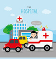 hospital ambulance car boy traffic road vector image vector image