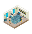 isometric picture of interior of datacenter with vector image