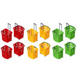 isometric set plastic shopping baskets on white vector image vector image