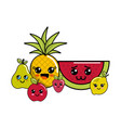 kawaii happy fruits icon vector image vector image