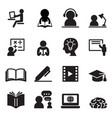 learning icons set vector image vector image
