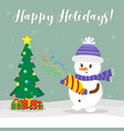 new year and christmas card cute snowman in a hat vector image vector image