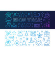 new year outline colored banners vector image