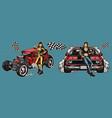 powerful retro custom racing cars concept vector image vector image