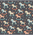 seamless kids baby rocking horse seamless pattern vector image vector image