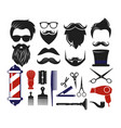 set barber shop icons vector image vector image