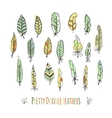 Set of hand-drawn stylized colored feathers vector image vector image