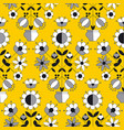 simple yellow folk style flower seamless pattern vector image vector image
