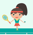 smiling sportswoman young tennis player holding vector image