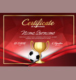 soccer game certificate diploma with golden cup vector image vector image