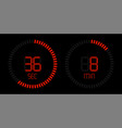 stopwatch digital red countdown timer vector image vector image