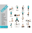 Training people icons set for sport and fitness vector image