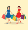 two happy women go shopping big sale vector image