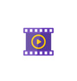 video icon play symbol and film strip vector image
