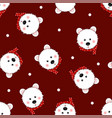 white bear with red scarf polka dot on red vector image vector image